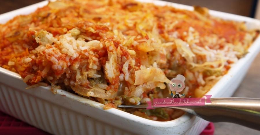 Sauerkraut Lazy Cabbage Roll Casserole